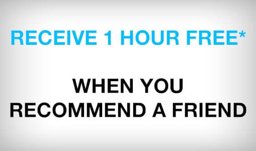 Receive one hour free when your recommend a friend